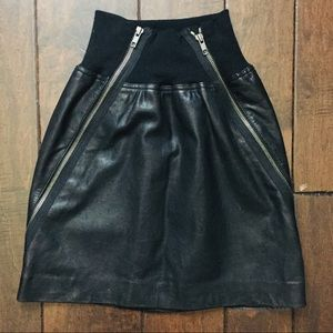 Theory double zipper high waste leather mini